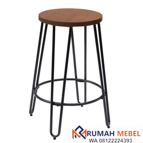 Bar Stool Besi Mix Kayu Jati