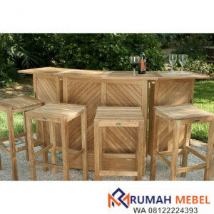 Set Meja Bar Outdoor 4 Kursi Kayu Jati Solid